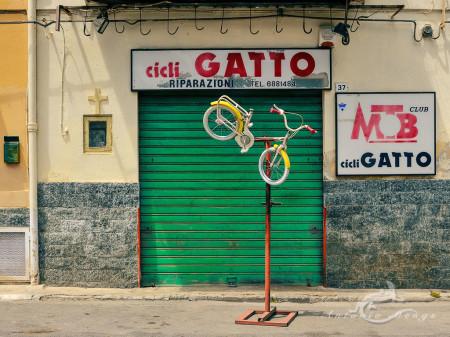 Palermo, Sicilia, Sicily, bicicleta, bicycle, calle, hornacina, niche, nicho, shop., street, tienda