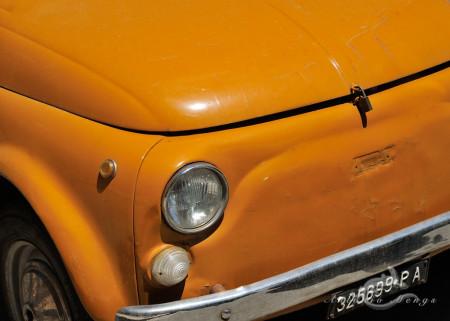 Palermo, Sicilia, Sicily, candado, car, cinquecento, coche, fiat, naranja, orange, padlock