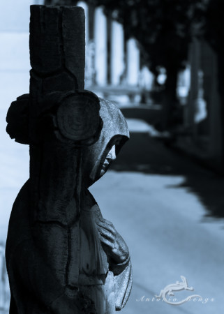 Cementerio, Madrid, camino, cemetery, column, columna, cross, cruz, escultura, hand, mano, mujer, path, sculpture, woman