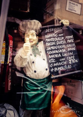 Madrid, add, anuncio, calle, chef, street