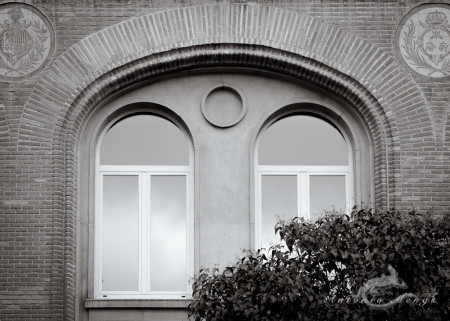 arbusto, brick, facade, fachada, geometric, geométrico, glass, ladrillo, ventana, window