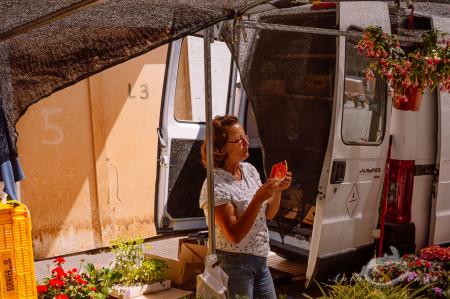 Alacant, Alicante, Alicante Alacant Spàin España, Calpe, España, Spain, furgoneta, market, mercado, mujer, sandía, van, waterlemon, woman